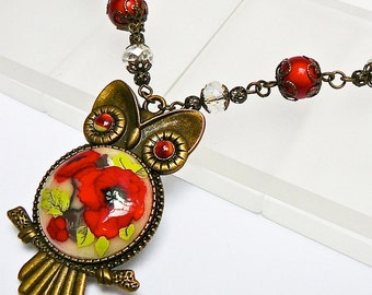 OWL necklace, brass and red poppy, polymer clay
