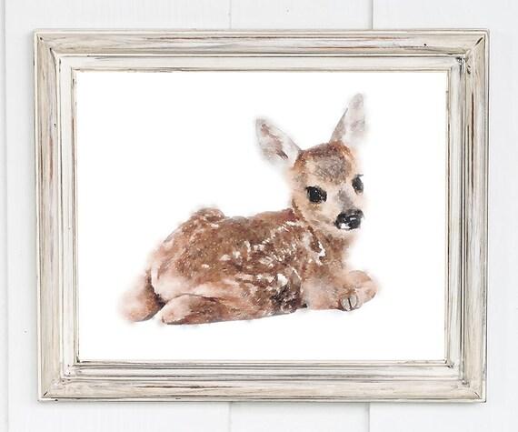 Watercolor Deer Fawn Baby Deer Printable Nursery Deer