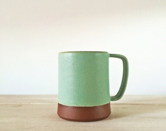 Handmade Mug - Matte Sea Green - Red Earthenware - Coffee Cup - Teacup
