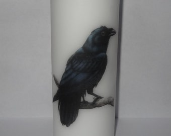 Raven Pillar Candle 17 cm high, Wiccan, Pagan, Hand crafted, Gift, Halloween, Wicca, Magic, Spell, Decorative Candle