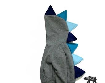 Boy Dinosaur Jacket Blue Ombre  - Dinosaur Hoodie, Dinosaur Sweater,  Dino Costume ,  Dino Hoodie, Toddler Blue Dino Hoodie