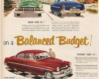 Antique 1951 Auto Mercury Car Original Print Ad