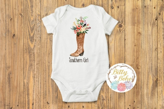 Southern Girl Baby Onesie Rustic Clothes Bittyandboho