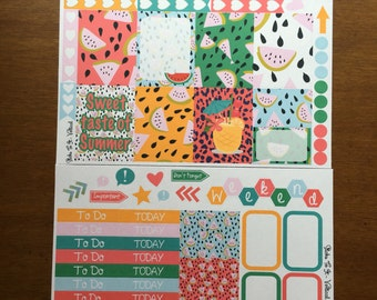 Watermelon Melon Summer Mini Weekly Set ECLP Horz & Vert Planner Stickers Erin Condren Mambi Inkwell Press Filofax KikkiK Happy