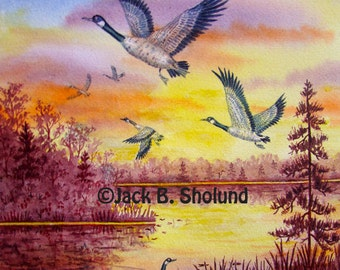 Sunset Glow With Canadian Geese Flying Watercolor Notecard
