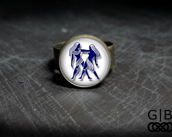 Gemini Ring Zodiac Gemini Statement Ring Gemini Zodiac Ring Gemini Adjustable Ring Gemini Jewelry Ring Statement Ring Gemini Zodiac Ring