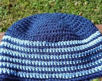 Adult Blue Striped Beanie