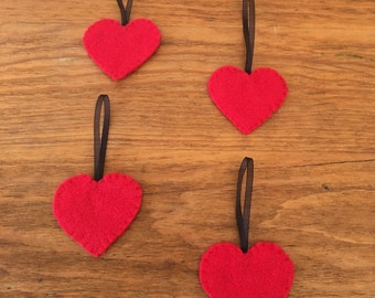 Felt Heart Christmas Tree Ornaments, Set of Four