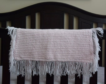 Soft Pink Baby Afghan Lap Blanket for the Nursery, Baby Shower, Newborn Photo Prop