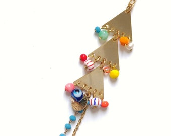 Necklace long triangles gilded gold end and multicoloured glass beads