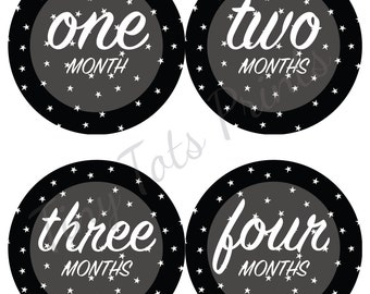 New!! Monthly Baby Stickers, Gender Neutral, Milestone Stickers, 12 Month Stickers, Baby Stickers, Black and White, Stars