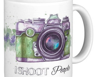 """Photography Gift Mug, """"i shoot people"""" With Camera watercolor and sketch"""