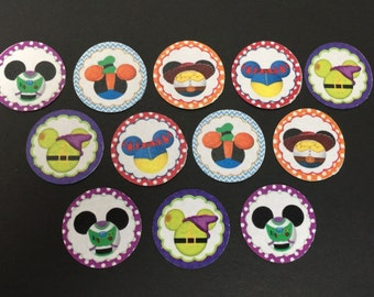 Mickey Heads Disney Characters Buttons Set of 12