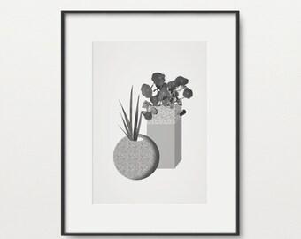 Geometric Potted Leaves Giclée Print - Home Decor - Minimal - Mid Century - 60's - Monochrome