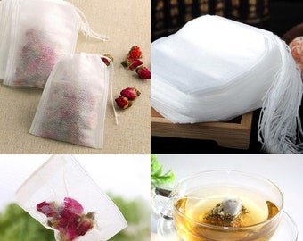 20 draw string teabags filter paper bags herb loose tea bag pouch make your