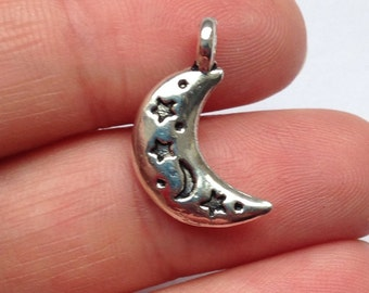 3 Crescent moon charms in Antique silver