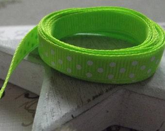 2 Yards of Lime Green Polka Dot Grosgrain Ribbon