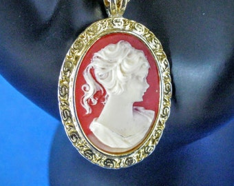 Pink Cameo Necklace ~ Romantic Vintage Pink and White Cameo Pendant Necklace with Gold Tone Chain ~ 1970s Costume Jewelry
