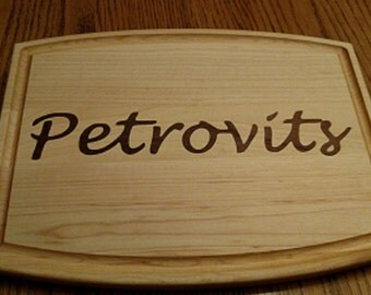 Personalized Inlay Cutting Board w/Juice Groove