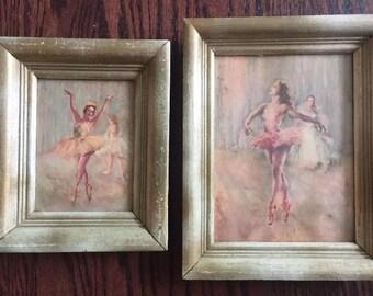 Two Vintage Gold/Pink Framed Ballerina Dancer Prints Set Pair