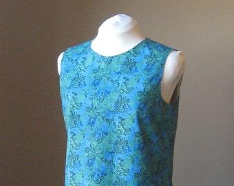 Blue Green Floral Print Cotton Sleeveless A-Line Shift Tunic Dress Size Medium