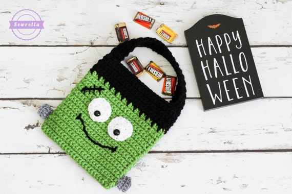 Frankenstein Crochet Halloween Trick or Treat Bag Pattern pdf