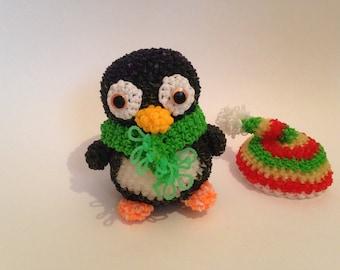 Rainbow Loom Stuffed Penguin , Loomigurumi Penguin , Black Green and Red Handmade Toy , By Maria Smile