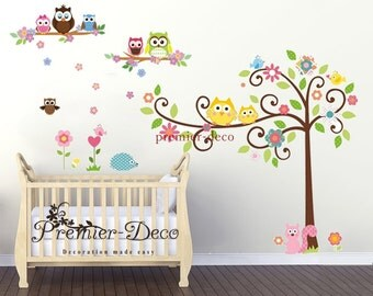 Woodland animal /Cute colourful owl / Flower Nursery Baby Girl Boy's Playroom Removable Wall Sticker Decal Mural Wall Art
