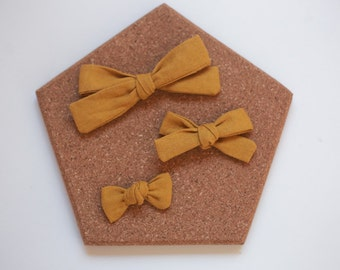 Mustard linen School Bow - toddler bow clip - baby headband - school girl bow