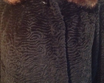 1950's cropped coat with mink collar and 3/4 sleeves vintage black faux lamb fully lined mint condition momosohovintage