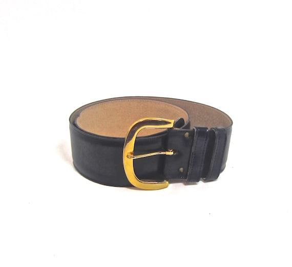 vintage klein s wide belt size large navy blue