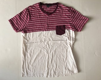 CASTRO BLACK White/Burgundy Striped T-shirt, Size XL