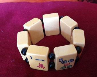 Vintage mahjong tile Bakelite stretch bracelet
