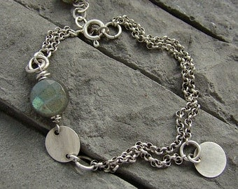 Sterling silver and labradorite - bracelet/oxidized silver