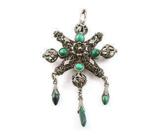 Superb Victorian Silver Filigree & Malachite Pendant - Circa 1800