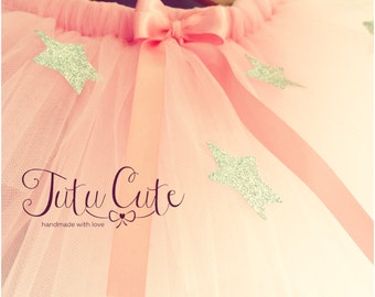 Pink Star Tutu Skirt with Satin Bow. Perfect for birthdays and photo shoots.