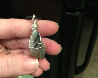Moss Agate Wire Wrapped Crystal