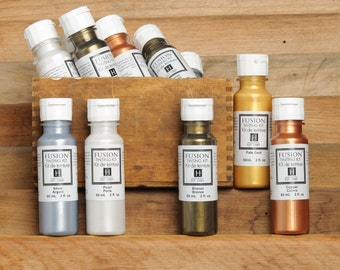 Metallic Paint - Tinting Kit by Fusion Mineral Paint, No VOC and Eco Friendly Furniture Paint - 4 Colors- 60 mL