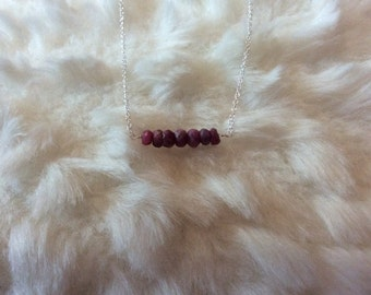 Ruby bar necklace on 925 silver chain