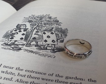 Lewis Carroll quote ring, Personalized ring, 925 sterling silver, reality, Alice in Wonderland, Imagination, Handmade