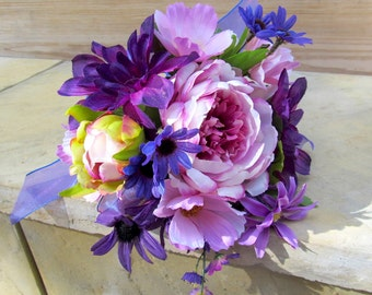 Purple Bridal Bouquet, Peony Cosmos Dahlias Wedding Bouquet, Purple Peonies Brides Bouquet, Rustic Peony Silk Flower Stem Wedding Bouquet