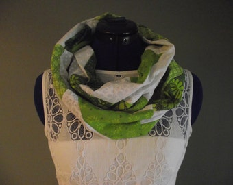 Green and White Cotton Patchwork Infinity Scarf, Adult, Lightweight
