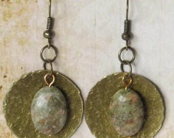 Hammered brass and autumn jasper earrings