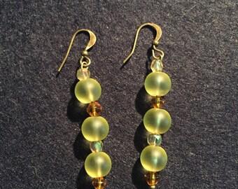 Purple & green frosted glass bead dangle earrings