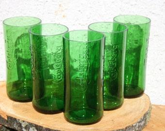 Vase Bottle Glasses Emerald Beer Bottle Glasses  Home Decor Green Glasses Beer Bottle Juice Glasses Recycled Bottles Eco Friendly Bowl