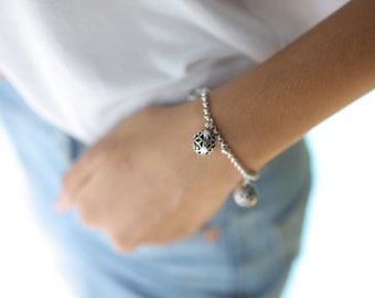 Antique silver beads bracelet, Sterling silver bracelet, Silver bracelet, Boho silver bracelet, Silver wrist chain, (BS 5)