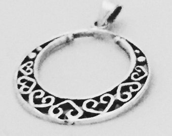 Silver hoop pendant, Sterling Silver chain, Silver pendant,  Silver necklace, 925 silver, oxidized pendant, Bohemian necklace (P 26)