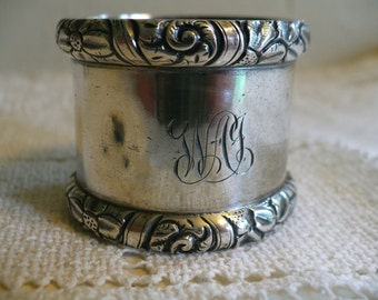 Vintage sterling silver napkin ring, engraved, 1 1/2 inches