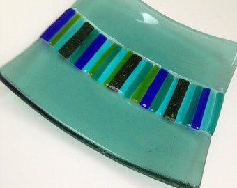 SALE! Blue Square Fused Glass Dish