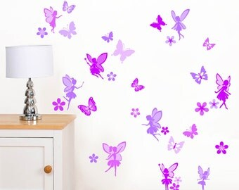 Purple Fairies, Flowers & Butterflies - Girls Childrens Fairy Printed Art Vinyl Wall Stickers - Designed by Rubybloom Designs